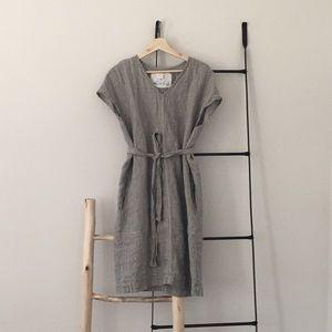 Not perfect linen dress pinstripe sz s/m
